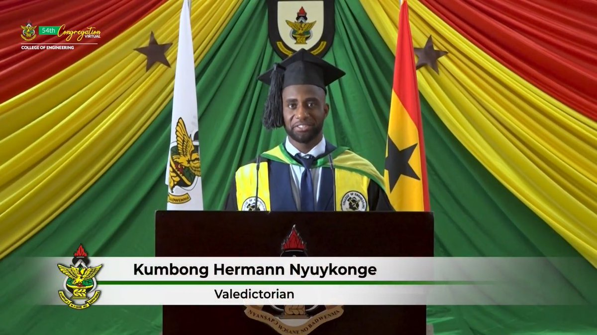The overall best student in the University [Class of 2020] is Mr. @KumbongHermann of the Department of Computer Engineering.  He is graduating with a CWA of 88.45  #KNUSTLive #KNUSTCongregation2020 https://t.co/y0YVypl12l