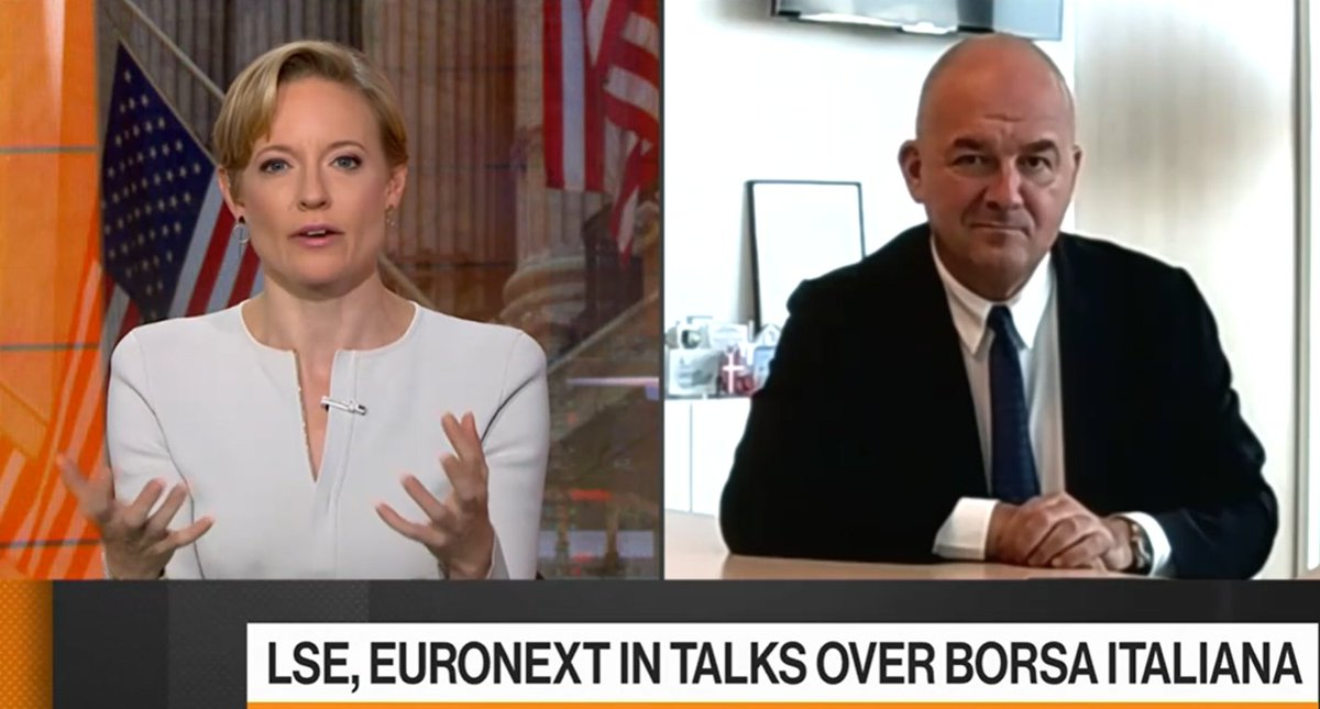 "Euronext CEO Stéphane Boujnah on Bloomberg TV: ""Welcoming Borsa Italiana would strengthen Euronext's federal model. We aim to create the backbone of the Capital Market Union."" ➡️ https://t.co/PpcQLnCLIU https://t.co/aG4lqZKA1U"