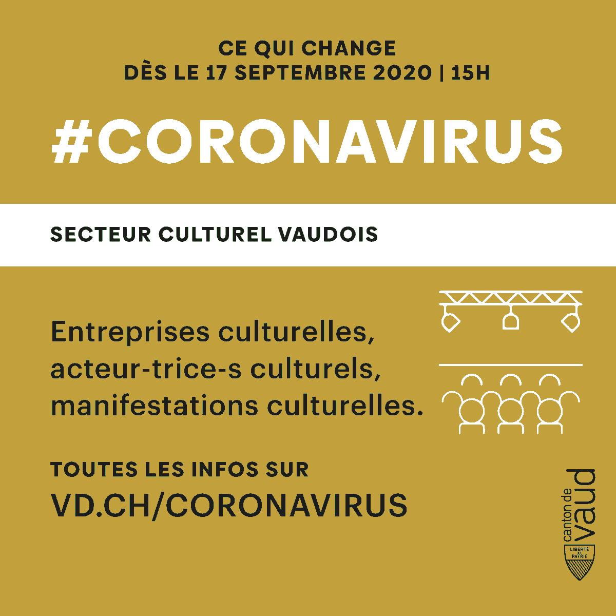 #Covid19 - SECTEUR CULTUREL VAUDOIS Ce qui change dès le 17 septembre dans le canton de Vaud. Entreprises culturelles, acteurs et actrices culturels, retrouvez toutes les infos sur https://t.co/rSVs5WUWWK https://t.co/HyEyA03QlE