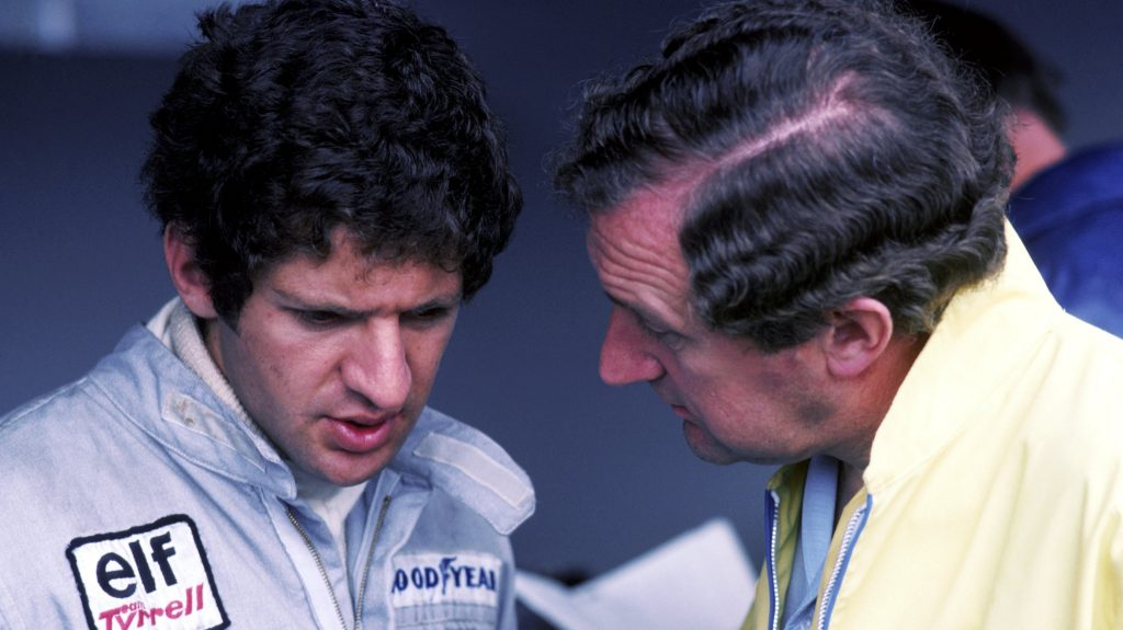 Remembering Derek Gardner, who designed the only 6-wheeled car to race in championship #F1, & saw his brainchild driven to #SwedishGP victory by Jody Scheckter at Anderstorp in '76. Pic: the 2 men together. Gardner died in 2011, aged 79. #RIP (1/2) https://t.co/3JQYOUEpsw