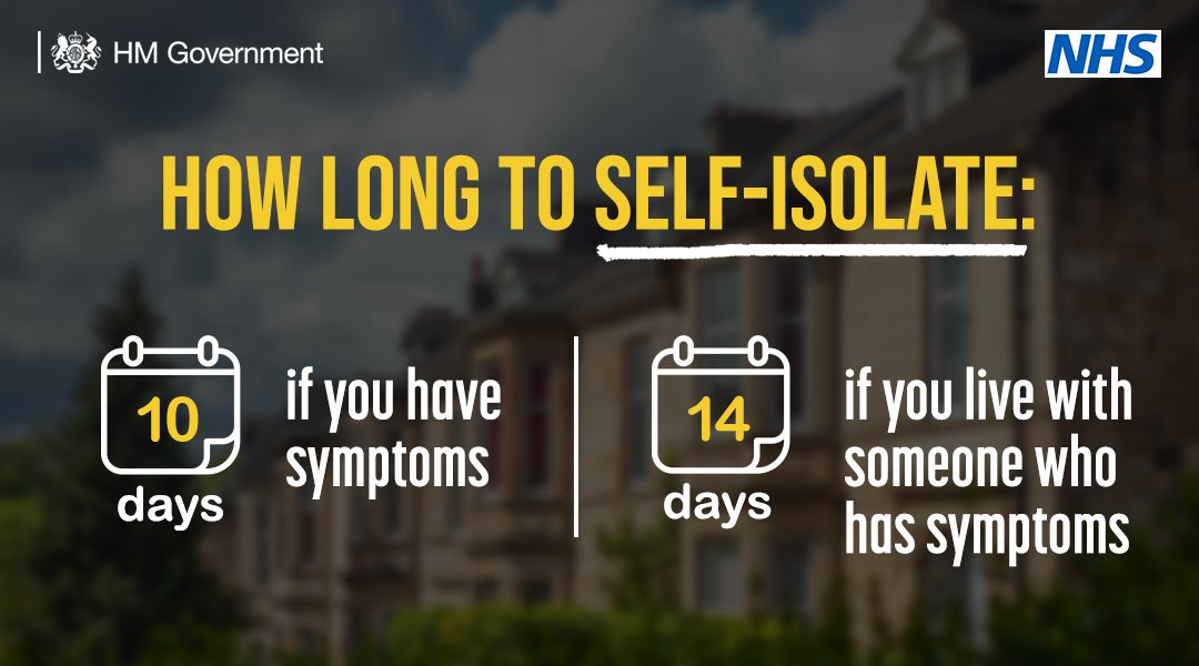 If you or a member of your household: Has coronavirus symptoms Tests positive for coronavirus Is contacted by NHS Test and Trace You must self-isolate and get a test: gov.uk/coronavirus