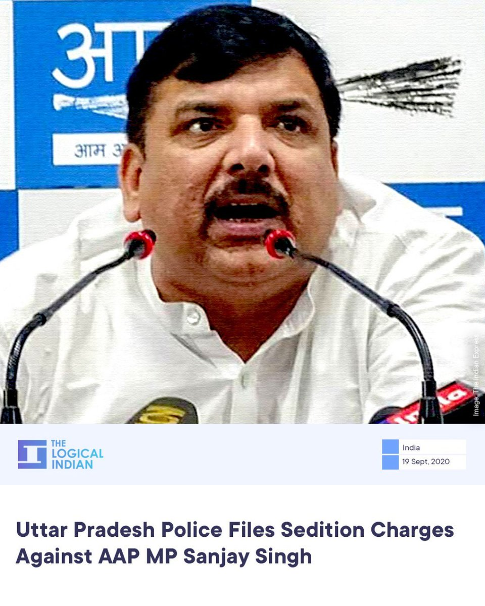 A police officer said that IPC section for sedition has been added to the FIR that was filed at Hazratganj police station on September 2.  #AAP #sanjaysingh #sedition https://t.co/MCIqlZH1sJ