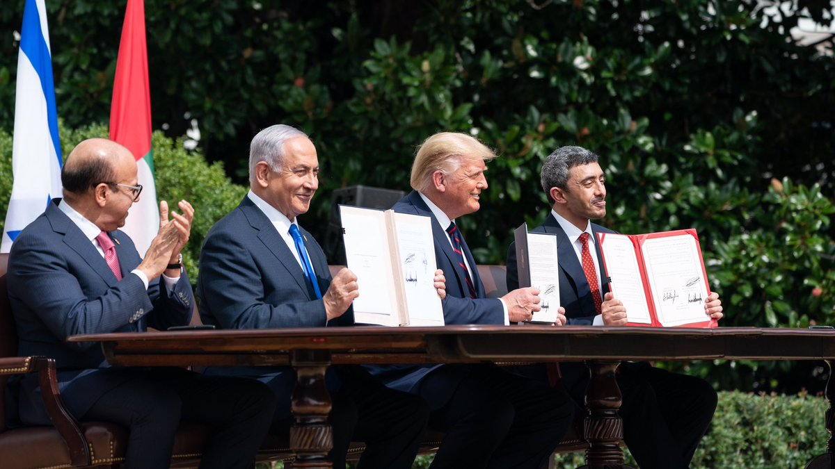 Such an important moment for Middle East peace. whitehouse.gov/briefings-stat…
