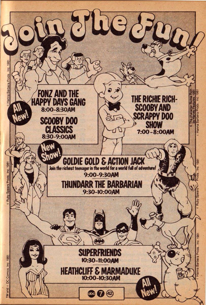 ABC Saturday Morning Cartoons (1981) #SaturdayMorningCartoons #TheFonz #HappyDays #ScoobyDoo #RichieRich #Thundarr #SuperFriends #Heathcliff #Cartoons #RetroSaturday https://t.co/mHpb9us5Rz
