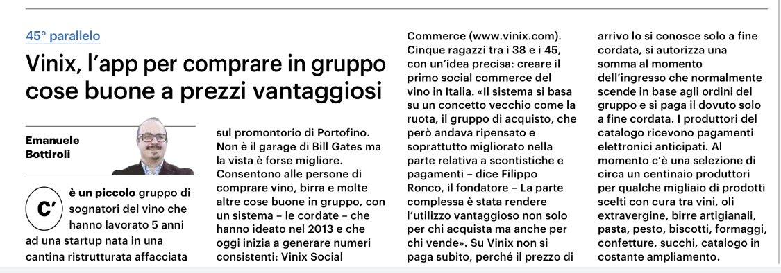 ✍️ Oggi la mia rubrica sul quotidiano QN Il Giorno è dedicata al progetto di Vinix Social Commerce che piace agli amanti del gusto e della vera filiera corta. @vinixdotcom https://t.co/xXRYIsvAF2