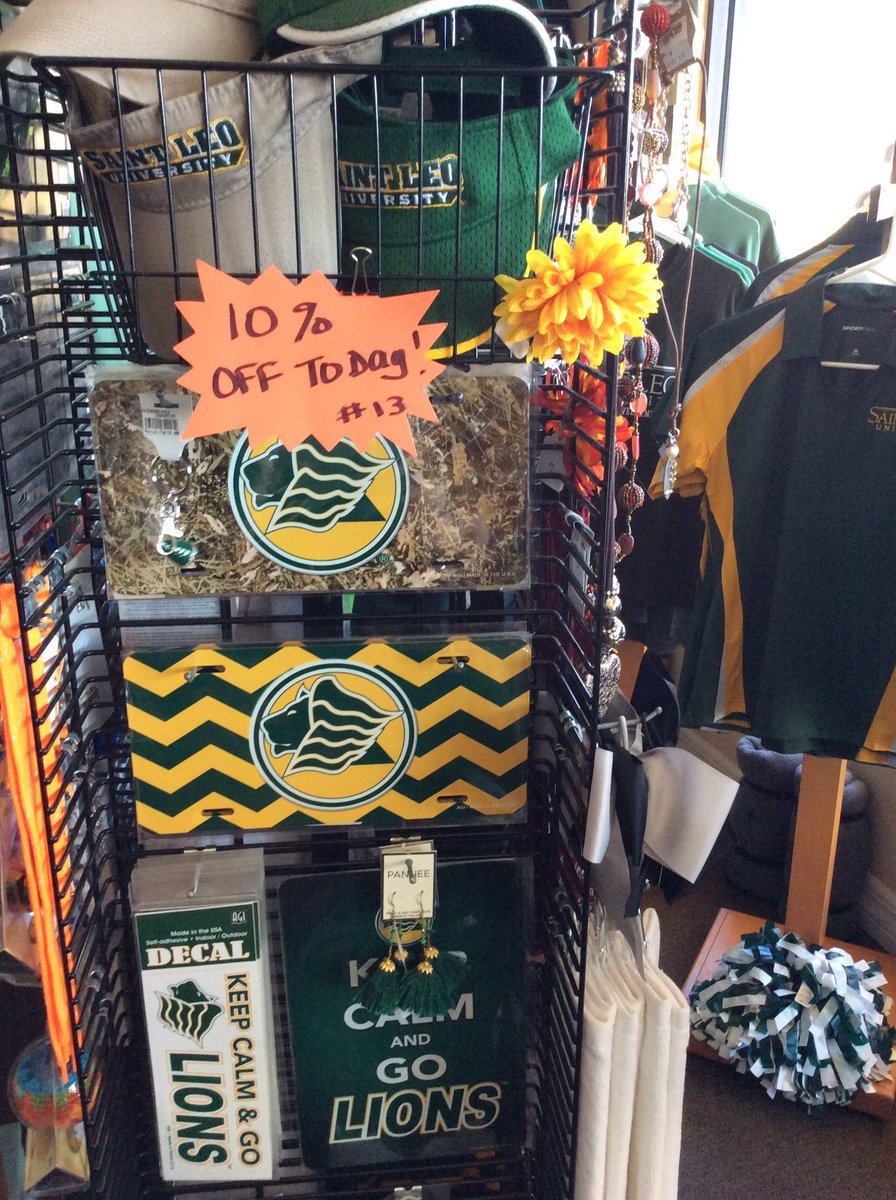 Customer Appreciation Sale today at the Campus Gear Kiosk inside the Two 'Ole Hens building! 10% Off all Saint Leo University Merchandise 32747 SR 52 San Antonio, FL #shopsmallbusiness #mysaintleo #Lions #shoplocal https://t.co/DfLyyDJ7mp