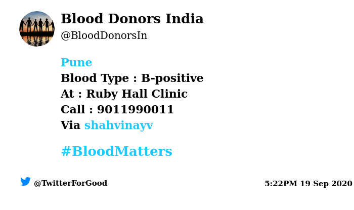 #Pune Need #Blood Type :  B-positive At : Ruby Hall Clinic  Blood Component : Need Plasma from B+ve #COVID19 recovered patient. Number of Units : 2 Primary Number : 9011990011 Via: @shahvinayv #BloodMatters Powered by Twitter https://t.co/pFFdePFnhX
