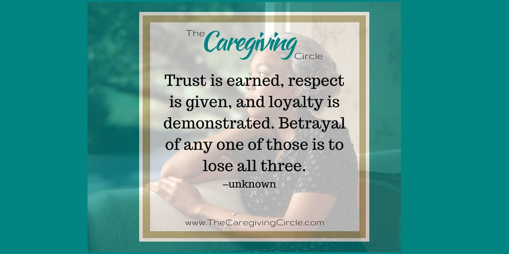 #Trust is earned, #respect is given, and #loyalty is demonstrated. Betrayal of any one of those is to lose all three. ~unknown  #TheCaregivingCircle #caregiving #caregiver #Alzheimers #dementia #family #love #care #caregiversupport #familycaregiver #selfcare #selflove #qotd https://t.co/07KWVsFMvN