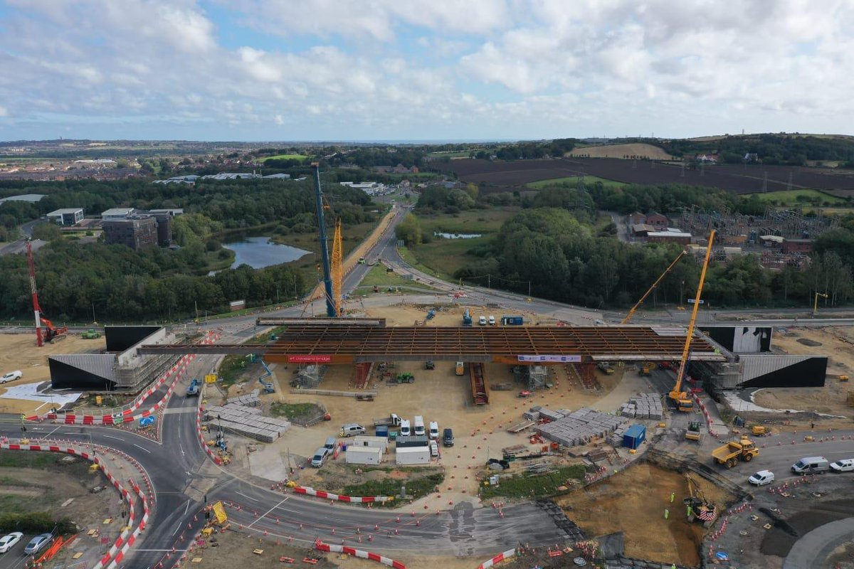 We're making great progress on building the bridge that will carry the #A19 over #Testo's roundabout.  Thank you for your continued patience during the full closure this weekend. https://t.co/XGwfmcXEYr