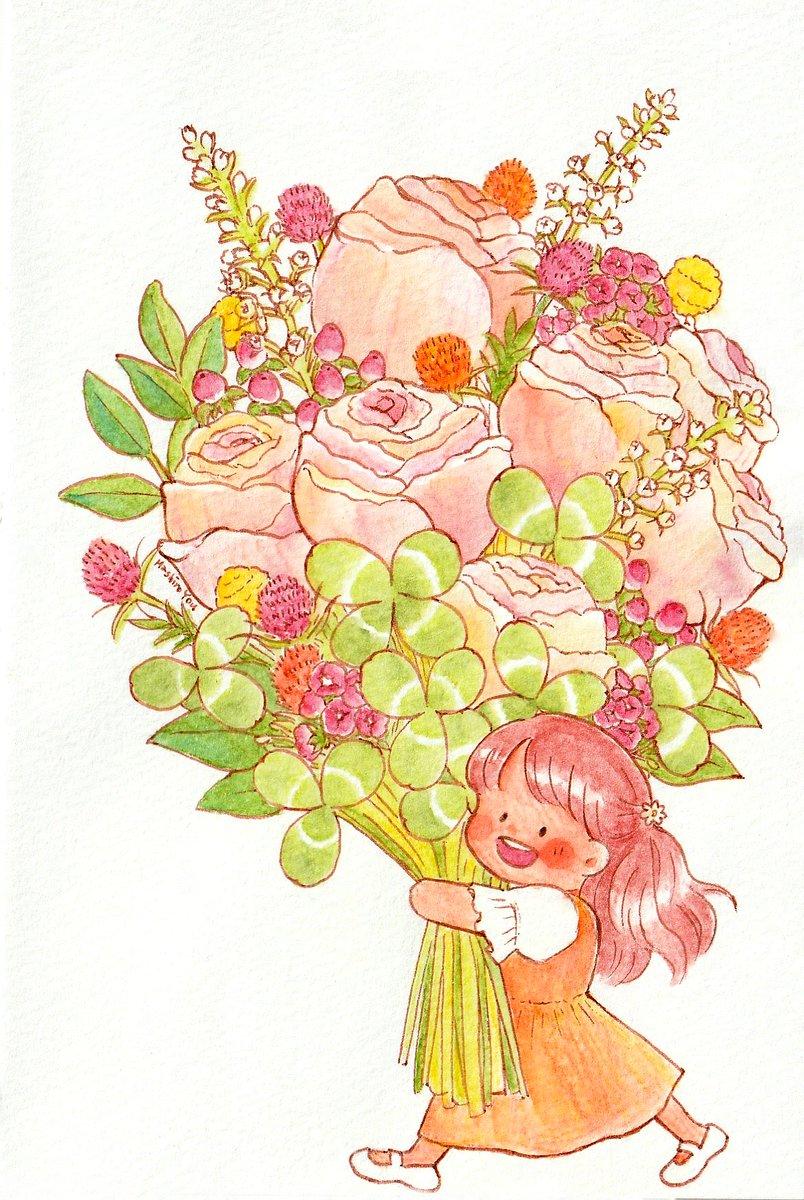 しあわせのお届けもの💐🍀  #水彩色鉛筆 https://t.co/CRKKOl7fKN