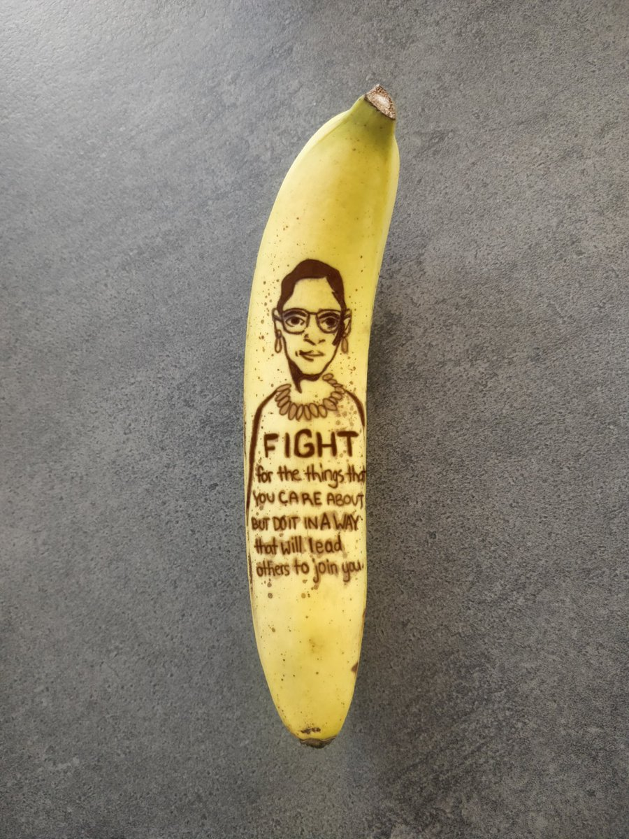 """""""Fight for the things that you care about, but do it in a way that will lead others to join you.""""  - Ruth Bader Ginsburg  #BananaOfTheDay https://t.co/mAmK8ni0xf"""