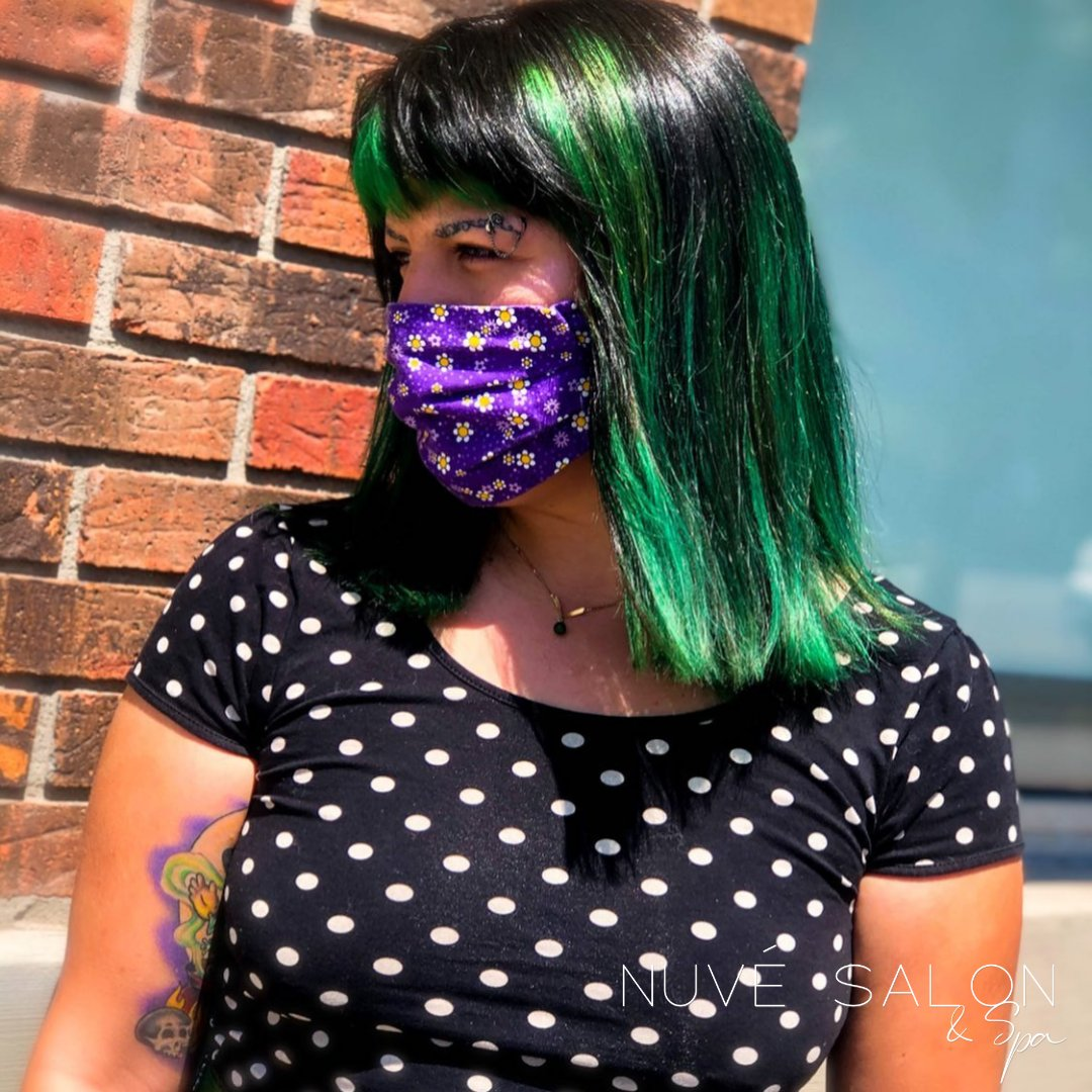 Stephanie rocked a vibrant green look. Look how well it goes with that purple floral mask, too. 🌻 #WearAMask #ABQSalons https://t.co/cXgUEJN34M