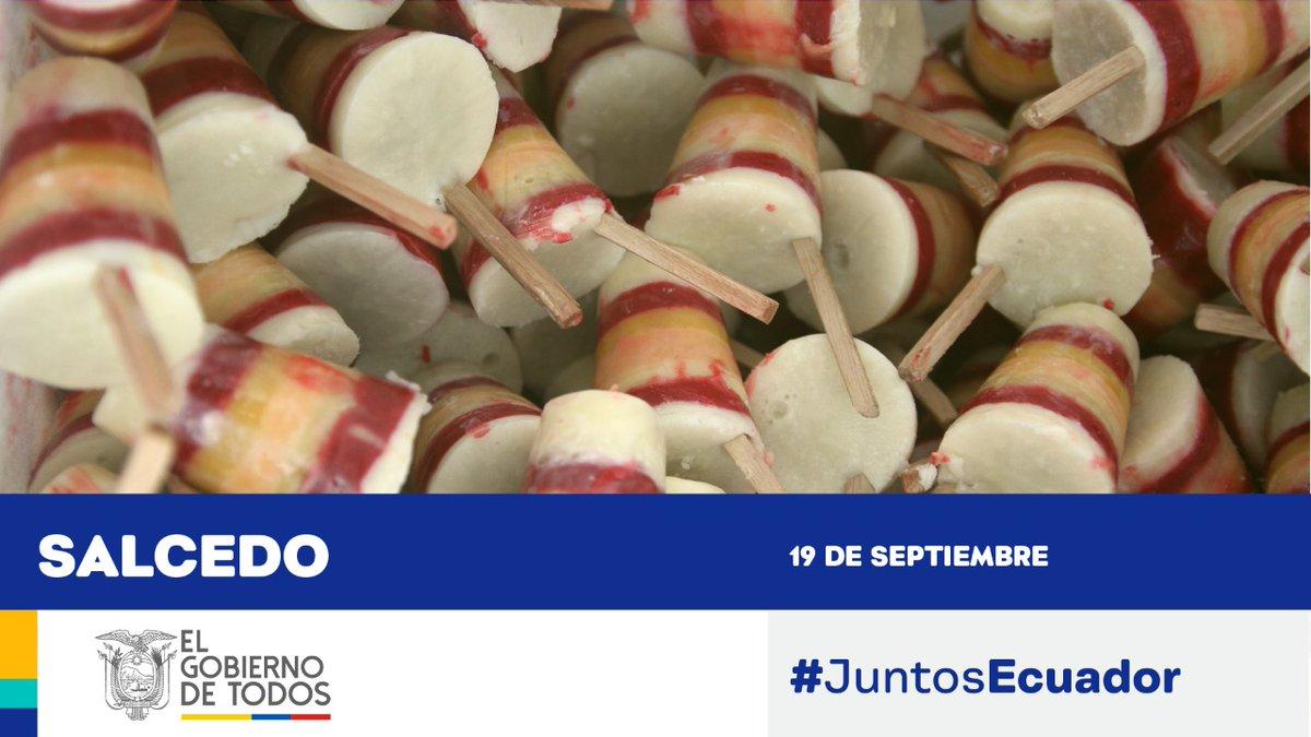 ¡Felicidades a todos los habitantes de Salcedo por su aniversario 101 de cantonización! Lugar de gente emprendedora que produce el rico pinol y los deliciosos helados que exportamos. #JuntosEcuador https://t.co/23oeHSBUqU