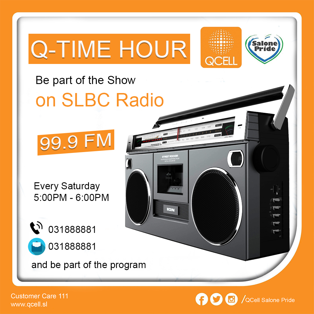#SaloneTweets #Salonemessenger #Salonetwitter  Join the magnificent QCell Team every Saturday at 5pm on Slbc radio for Q-Time Hour. Tune in now to know more about QCell , current offers and expansion during this covid 19 period.  #QCellSL #SalonePride 🇸🇱🇸🇱🇸🇱 #Innovate  #Inspire https://t.co/hNRZUNKTRg
