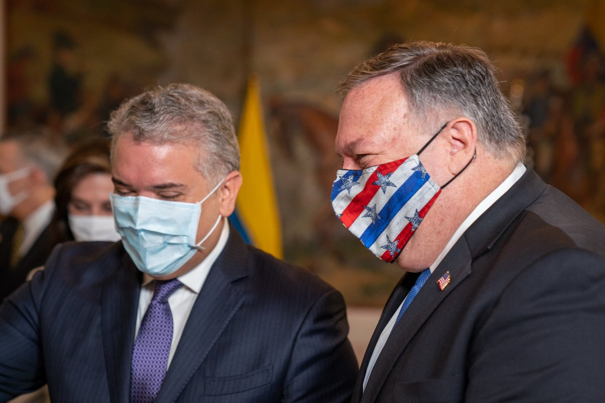 As steadfast friends, the U.S. and Colombia are working together to meet the public health needs arising from COVID-19 and improve conditions for Venezuelans forced to flee the Maduro regime's disastrous policies. Good seeing @IvanDuque today to reaffirm our enduring partnership. https://t.co/e6S3nieGRz