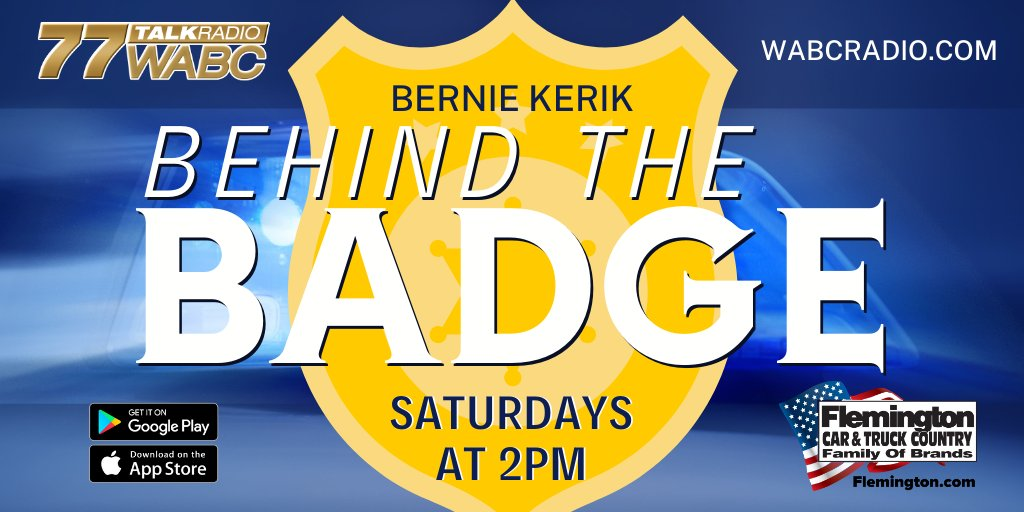 COMING UP: @BernardKerik takes you Behind the Badge, 2-3PM. Listen on the 77 WABC mobile app and WABCRadio.com Brought to you by @FCTC10 - Family, Independent... Not Corporate.