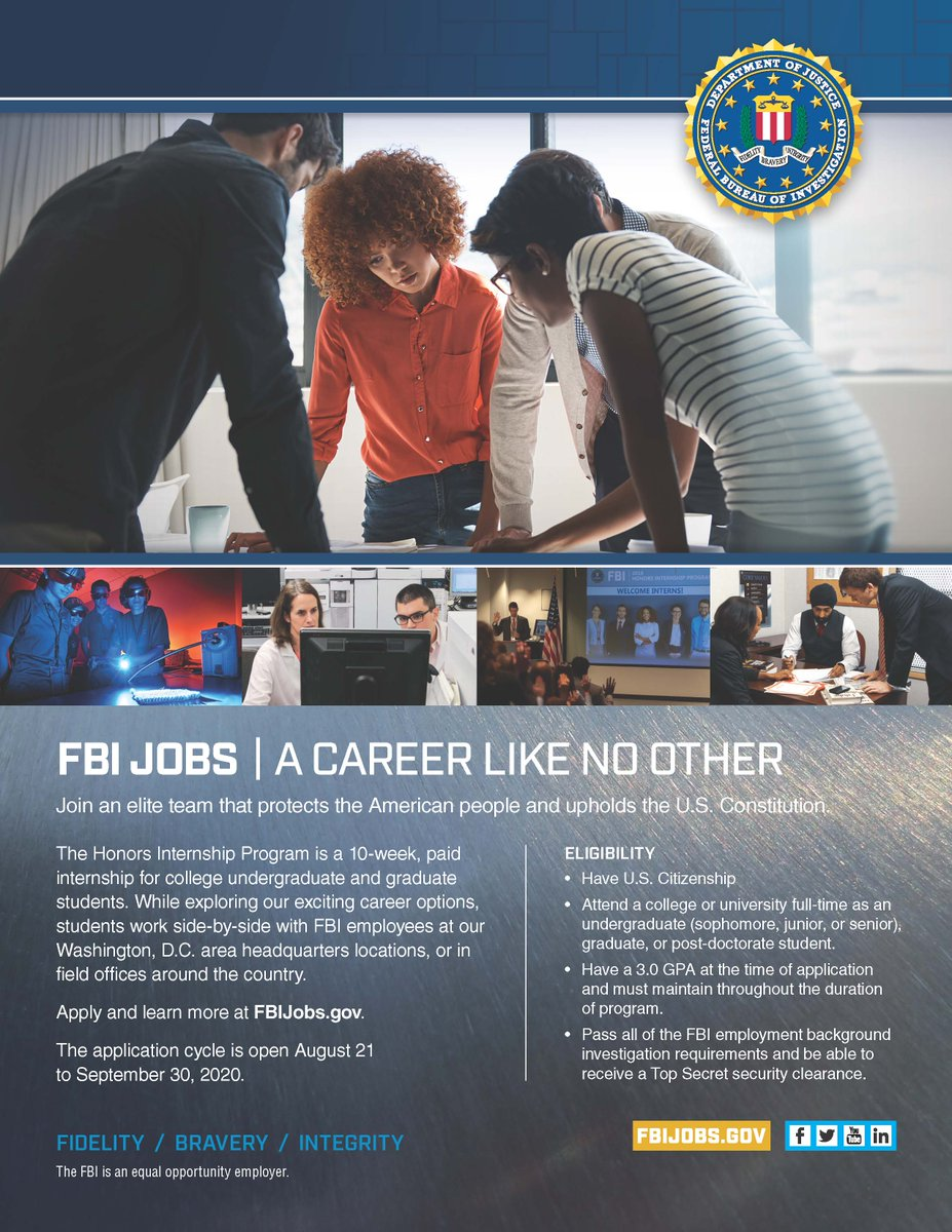 Don't let this opportunity pass you by. The application period for the #FBI Honors #Internship Program is open until September 30th. Apply today for an internship like no other! https://t.co/gjaQw8QmEX https://t.co/sUVVKjfKJJ