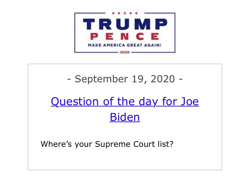 The Trump campaign hasn't released a formal statement on the passing of Justice Ginsburg, instead deferring to the president's comments & lengthy WH statement last night. They continue, however, to urge former VP Biden to release a list of potential nominees. https://t.co/TMvmckk40G