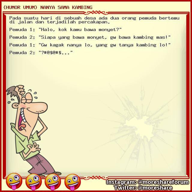 (HUMOR UMUM) NANYA SAMA KAMBING - UPDATE TIAP HARI!!! Jangan kelewatan!!! lumayan dari pada lumanyun buat ngilangin BETE!!! wkwkwkwkw Follow us - #humorumum #cerita #lucuumum #humor #humor #lucu #humorgokil #koleksihumor #kumpulanhumor #humor #indonesia #ceritahumor #humorkomplit https://t.co/szjkKTXjK8