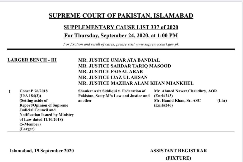 #BreakingNews: 5 member larger bench led by Justice Umar Ata Bandial with brother judges Justice Sardar Tariq Masood, Justice Faisal Arab, Justice Ijaz Ul Ahsan and Justice Mazhar Alam Khan Miankhel will hear on 24 Sept petition of Shaukat Aziz Siddiqui challenging his removal https://t.co/FYYZ4cOFoH