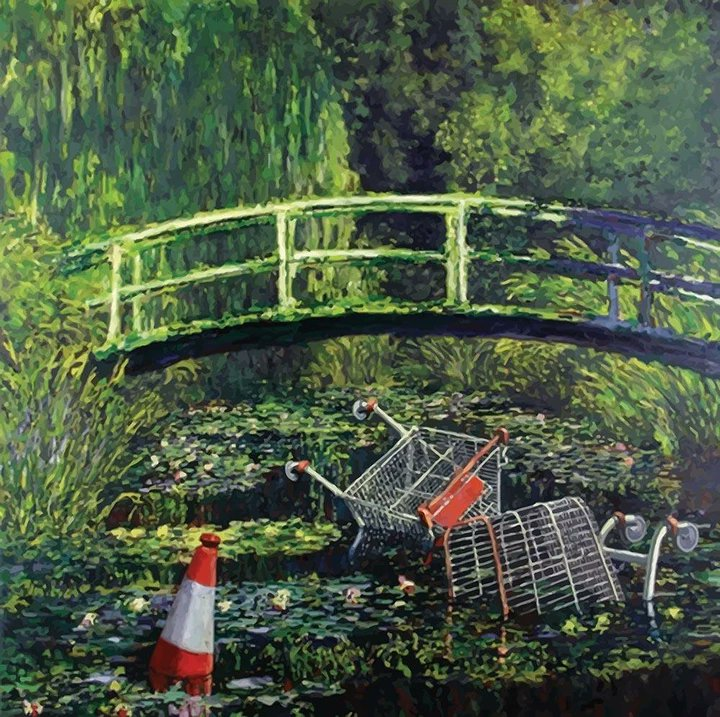 Interesting take on a famous picture' Yup its a Banksy based on Monet's garden https://t.co/TJLTfMCtAg