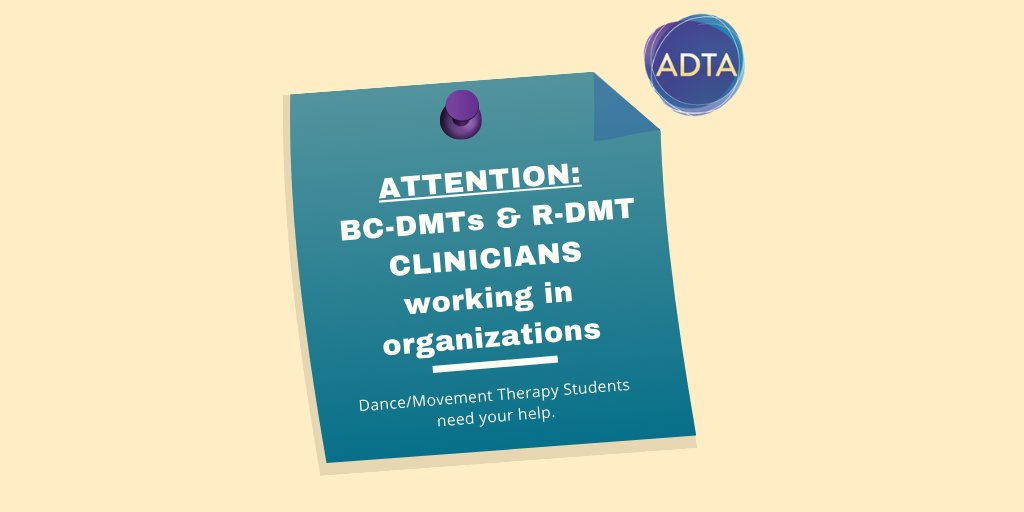 📣Attention BC-DMTs, or R-DMTs under BC-DMT supervision! Are working in an organizational setting (not private practice)? Please consider supervising a #telehealth #internship! More info: https://t.co/PvlI3KKxmx  #dancetherapy #dancemovementtherapy #DMT https://t.co/cwGTLH4ECt