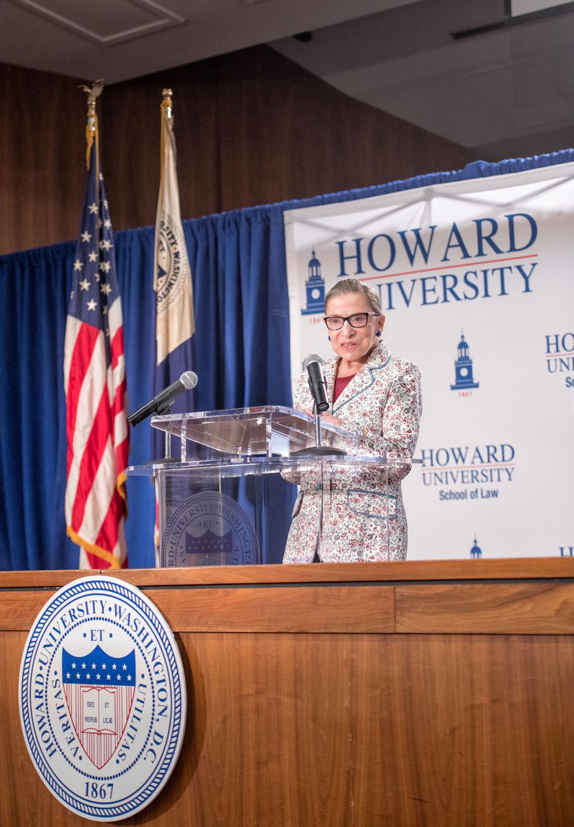 The @howardlawschool community is remembering Supreme Court Justice Ruth Bader Ginsburg today. We will never forget that day in 2017 when she graced us with her presence. WATCH: bit.ly/3krteoY. #HUSL #RIPRBG #rbgforever