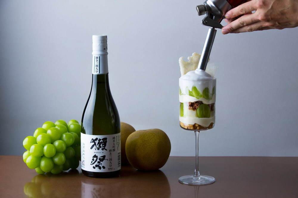 日本酒「獺祭」パフェ、シャインマスカットと和梨を併せて - 東京・小笠原伯爵邸で -