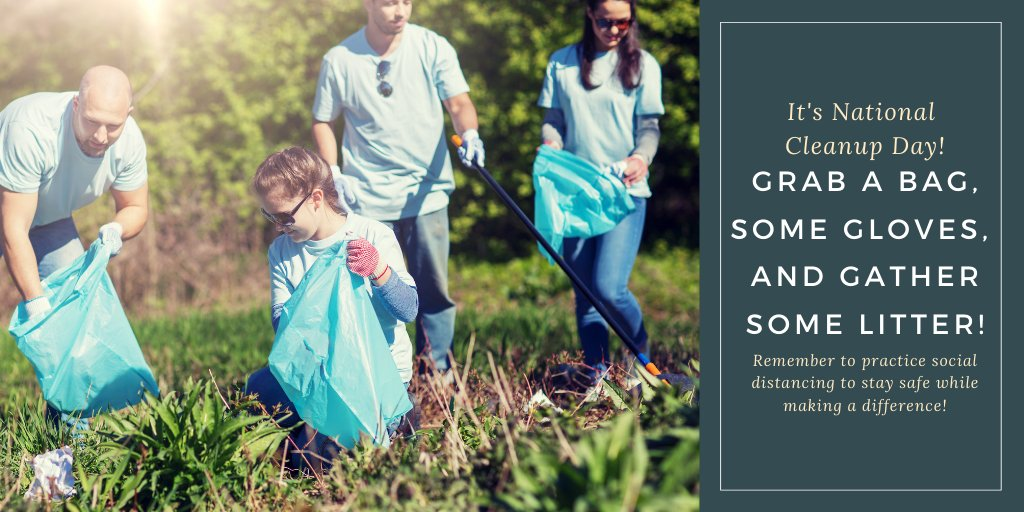Today is all about cleaning up the community! Get outside and pick up some litter! Just remember to practice social distancing and stay safe! #NationalCleanup #GlobalCleanUpDay #GreatGlobalCleanup #TrashDash