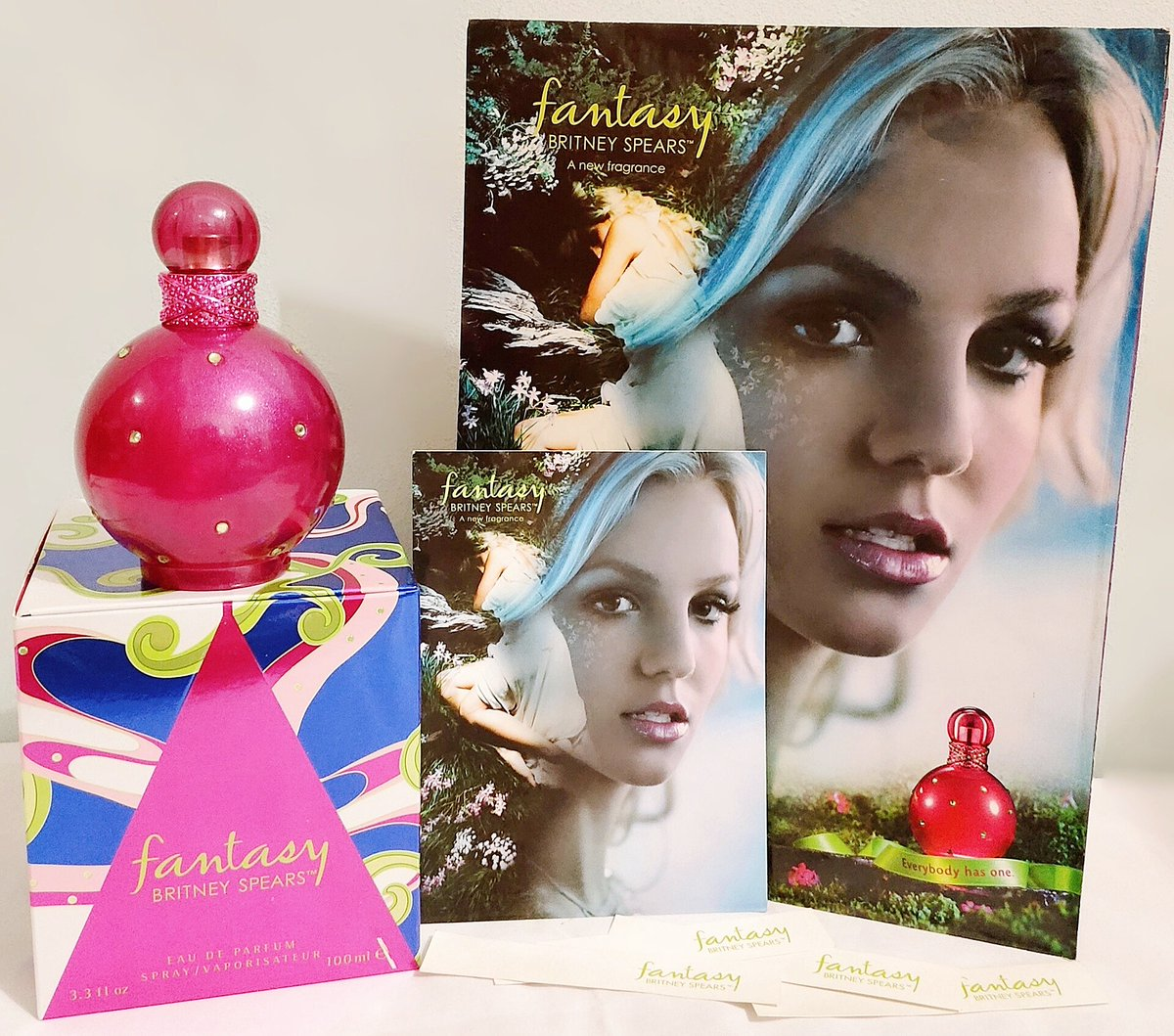 """""""Fantasy"""" is a women'sfragranceand fragrance line by @britneyspearsand@elizabetharden . Fantasy, the perfume, is the second perfume to be endorsed byBritney Spears after """"Curious"""". It was released in the US 15 Years Ago on September 15, 2005.  #britneyspears https://t.co/62x33sQhjb"""