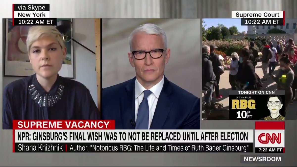 """Her incredible, superhero status in American culture was something that people were sort of yearning for, and especially young people and young women, in particular,"" says ""Notorious RBG"" co-author @shanakn about Ruth Bader Ginsburg's work and legacy. cnn.it/3cfE8LQ"