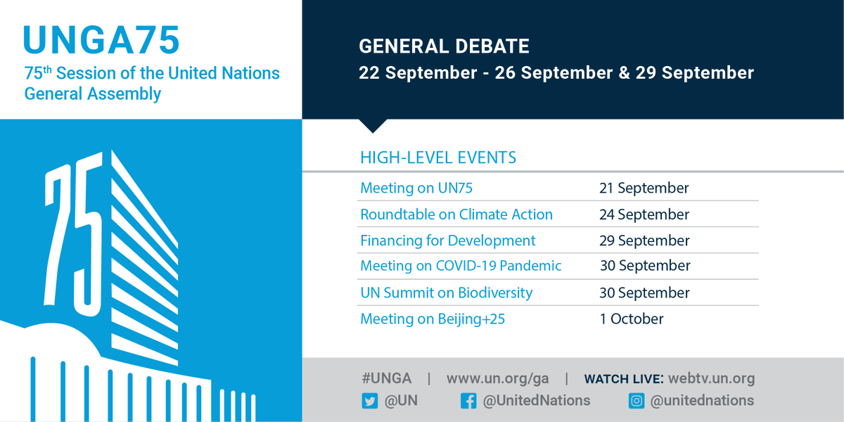 From #ClimateAction to #COVID19, world leaders will seek solutions to some of the biggest challenges facing humanity during this week's #UNGA.  More details on all the high-level events: https://t.co/xWc4QNQQ6l https://t.co/N8Yeq0UqUM