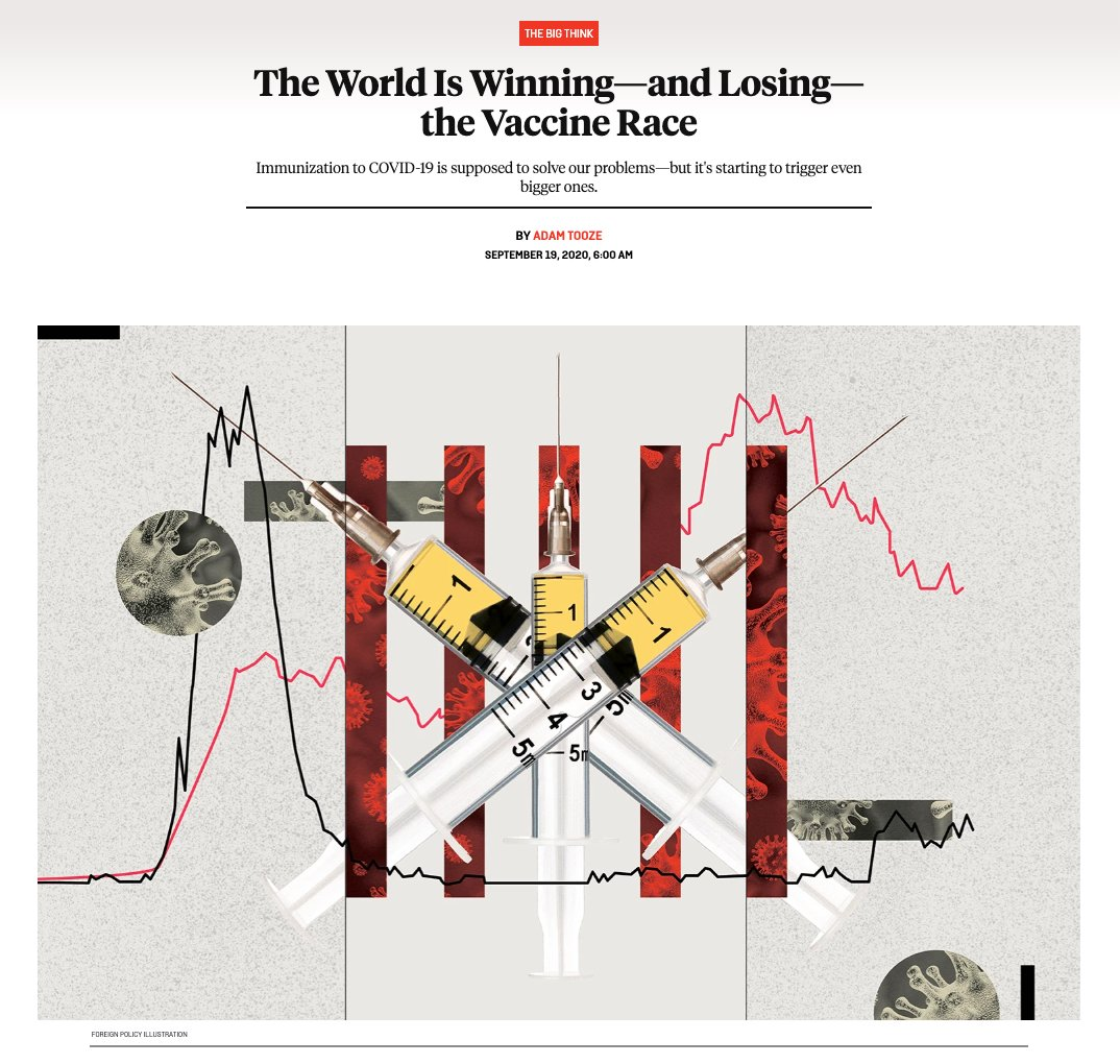 The World Is Winning—and Losing—the Vaccine Race Immunization to COVID-19 is supposed to solve our problems—but may trigger even bigger ones. A NEW piece for @ForeignPolicy on the political economy of the Vaccine Race. One for @EdwardGLuce @tedfertik foreignpolicy.com/2020/09/19/the…