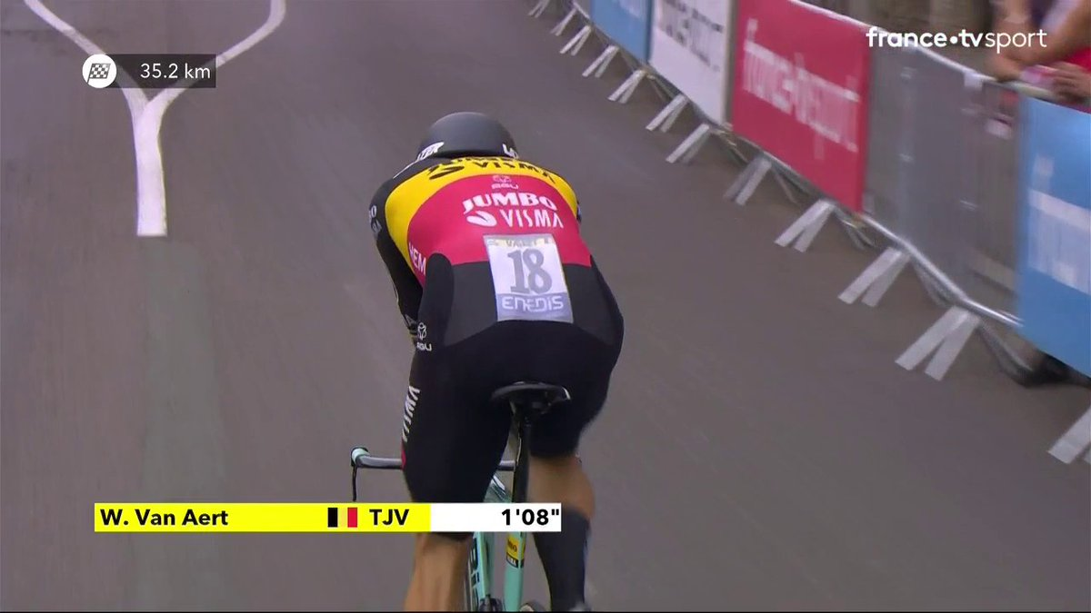 Wout van Aert s'est élancé dans le contre-la-montre !  Le champion de Belgique est un des favoris du jour, la première place provisoire de Rémi Cavagna est en grand danger #TDF2020  ▶ Suivez la course en direct : https://t.co/DulQRNcNxq https://t.co/hDCv5k3CKw