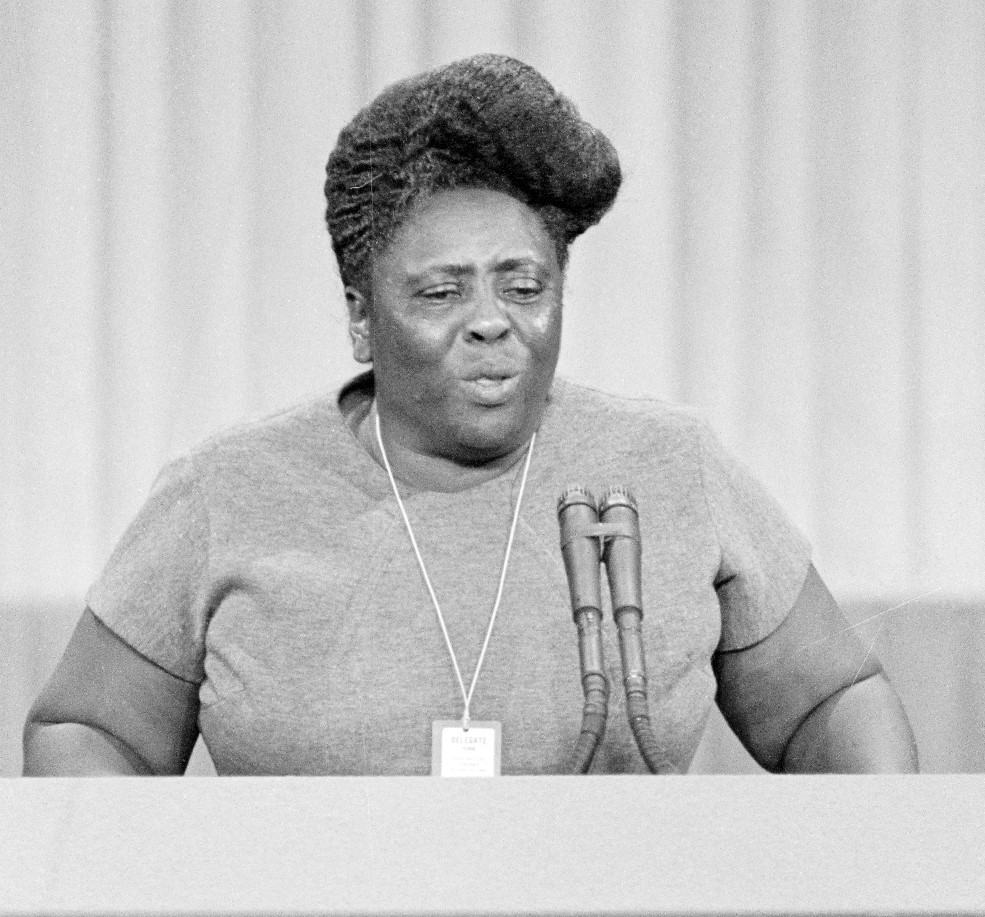 "We can no longer ignore the fact that we can't sit down and wait for things to change because as long as they can keep their feet on our neck, they will always do it. But it's time for us to stand up...""-- Fannie Lou Hamer, Sept. 1964. Read more on Hamer: https://t.co/nxpbUTtWPH https://t.co/4kObWlNLFu"