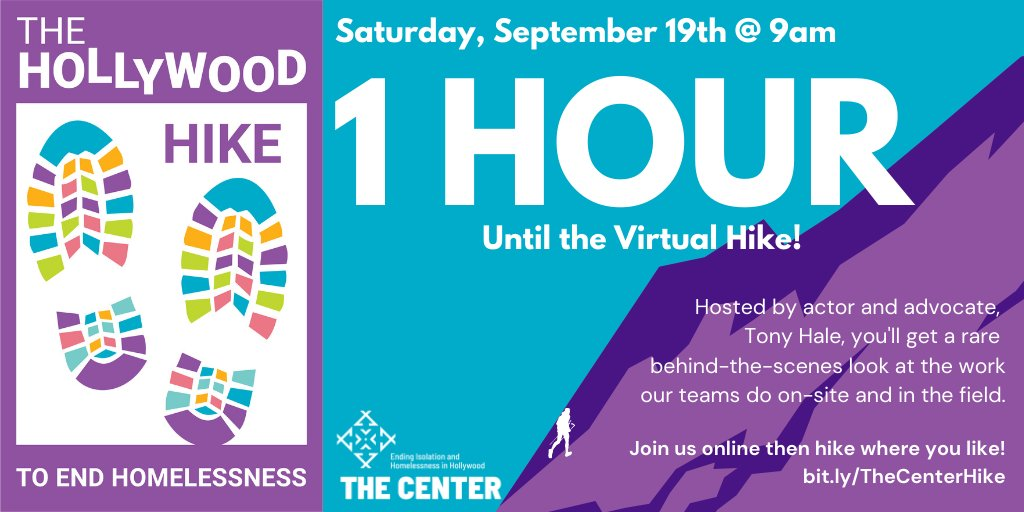 1 HOUR until we kick-off our virtual Hike with host, @MrTonyHale! Grab your coffee, your breakfast, your wifi, and join us from 9-10am to see the behind-the-scenes work The Center is doing to end isolation and homelessness. Donate and tune in at buff.ly/2GtZOoe