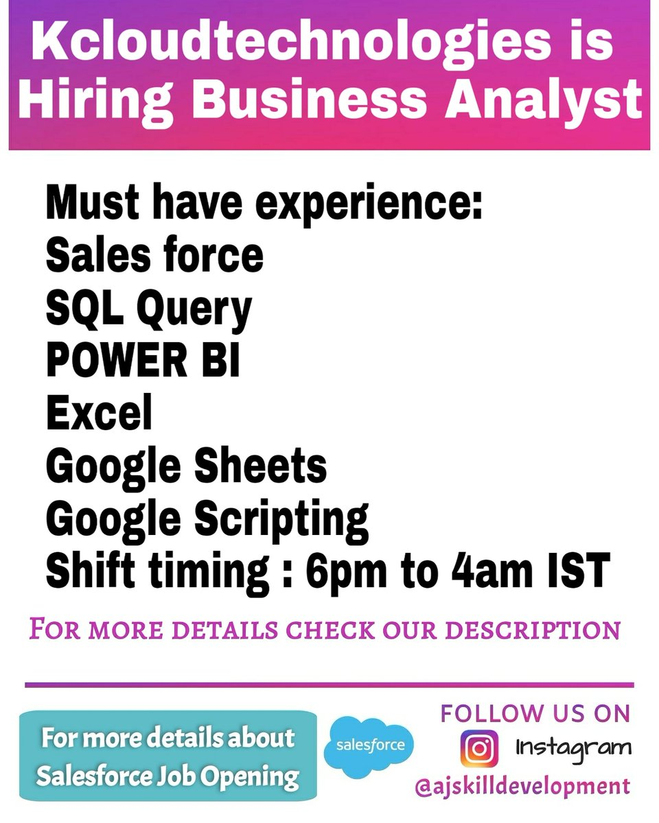 Kcloudtechnologies is Hiring Salesforce Business Analyst https://t.co/UqxwlcWpJE  For #Salesforce #Training #Certification #SuperBadge #placement WhatsApp +919344508500 https://t.co/bcndcdJSfp Join Our Telegram groups Salesforce  Learners https://t.co/Xv3a4As2kx @salesforce https://t.co/nbKKIJqJ6S