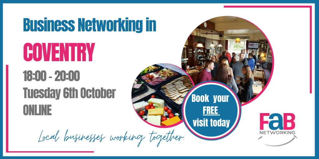 Our next FaB Coventry meeting is ONLINE on Tuesday 6th October at 6 pm  Click the link to book your place to visit us! https://t.co/cbI0Tciee9 #findabiz #networking #hinckley #coventry #rugby #nuneaton #tamworth #localbusiness https://t.co/02C02oOHkc
