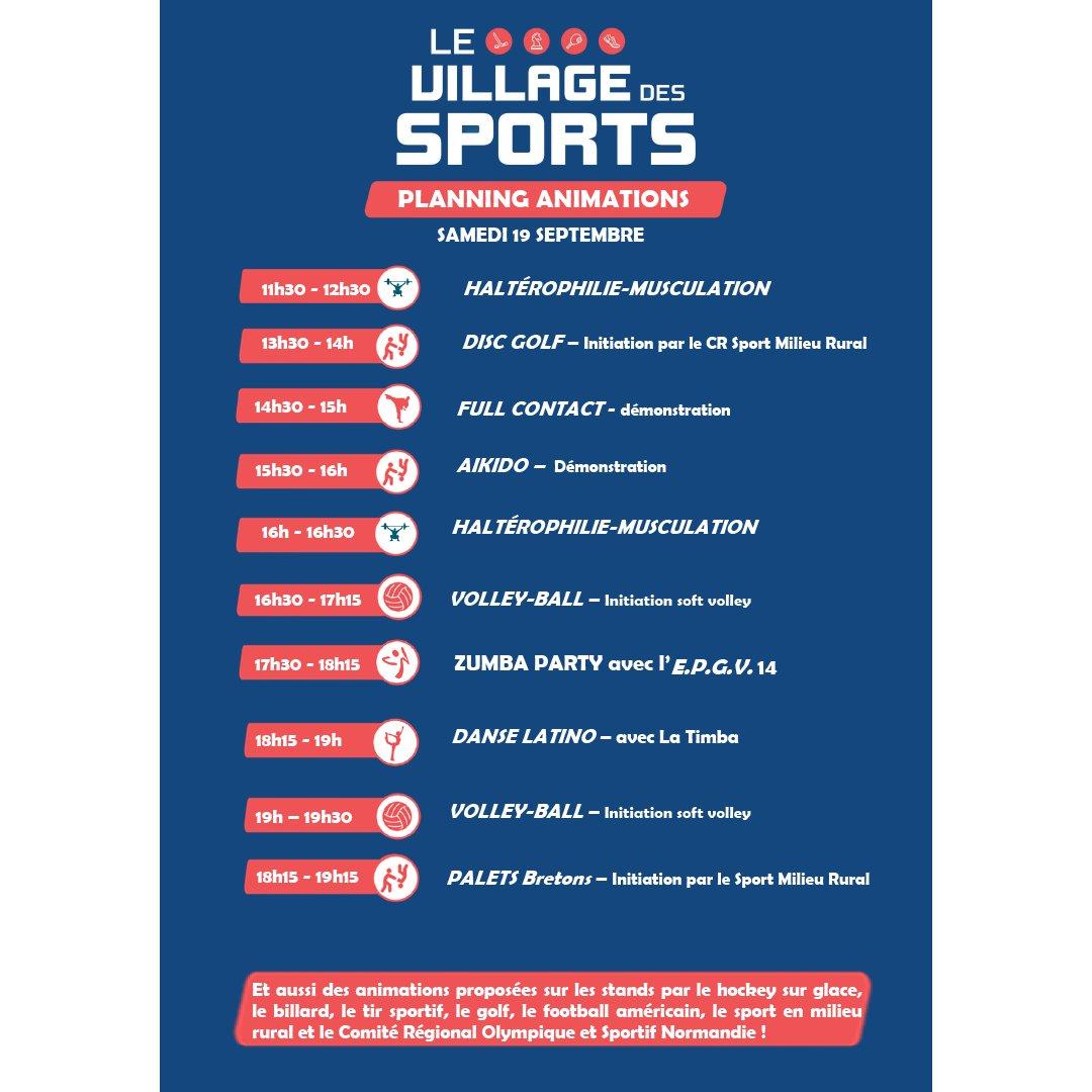 [ LE VILLAGE DES SPORTS ]  Encore quelques animations, vous attendent aujourd'hui :   ➡️ Programme d'aujourd'hui  #FoiredeCaen #Sports @CrossNormandie #Volleyball #Zumba #Danse https://t.co/pgh8Eojkn3