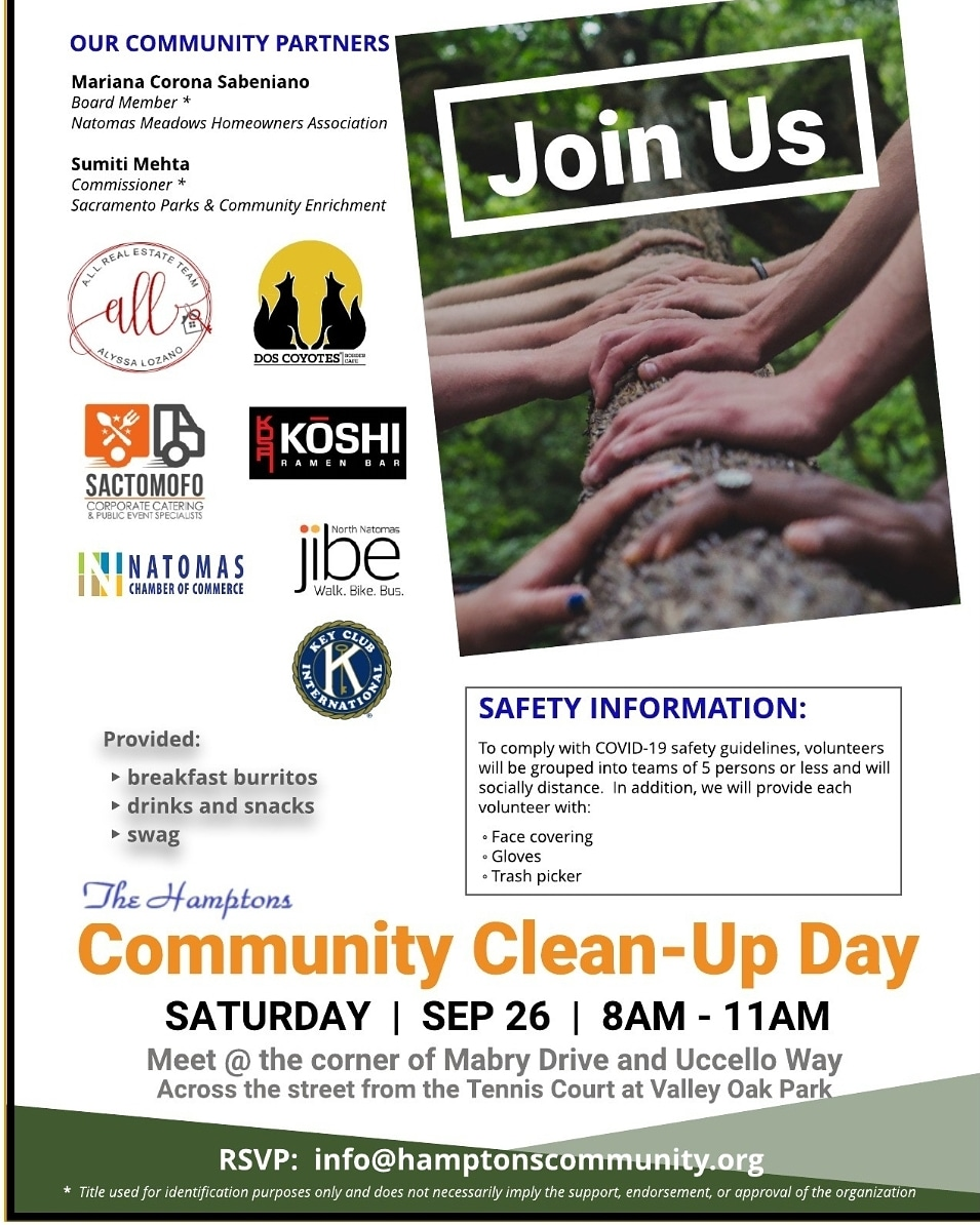 Community Cleanup Day 9.26.20 >Free breakfast burritos from Dos Coyotes >Free snacks from Koshi Ramen Bar Natomas >Free refreshments  >Prize from Sactomofo  >Swag   Masks, gloves, individual hand saniti   RSVP: info@hamptonscommunity.org https://t.co/jpFn0xE3q7