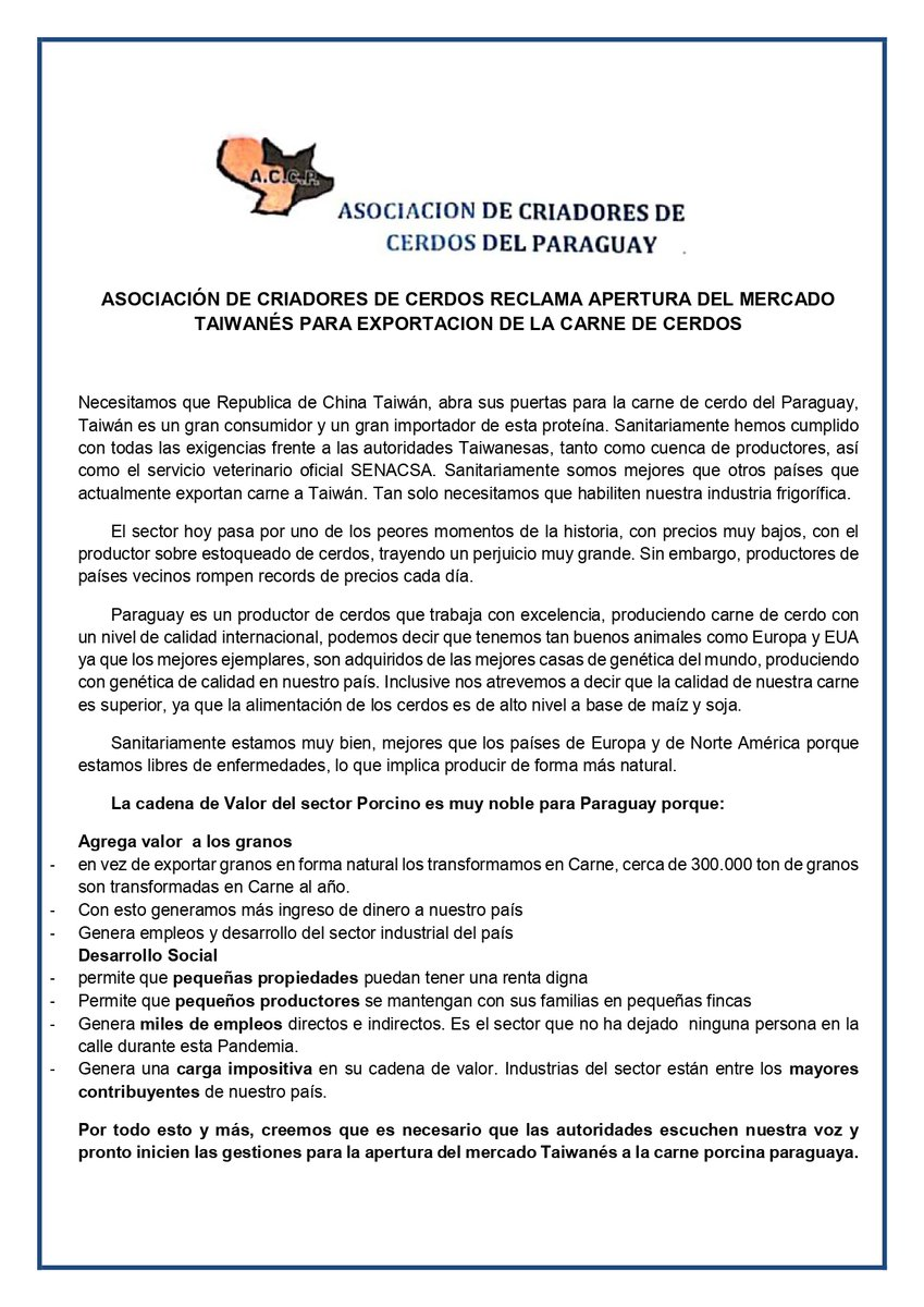 Asociación de Criadores de Cerdos del Paraguay, reclama la apertura del mercado de China Taiwán a la carne porcina paraguaya Sostiene que nuestro país es un productor de cerdos que trabaja con excelencia, produciendo con calidad internacional, cumpliendo las exigencias sanitarias https://t.co/YAJm3eI6bL