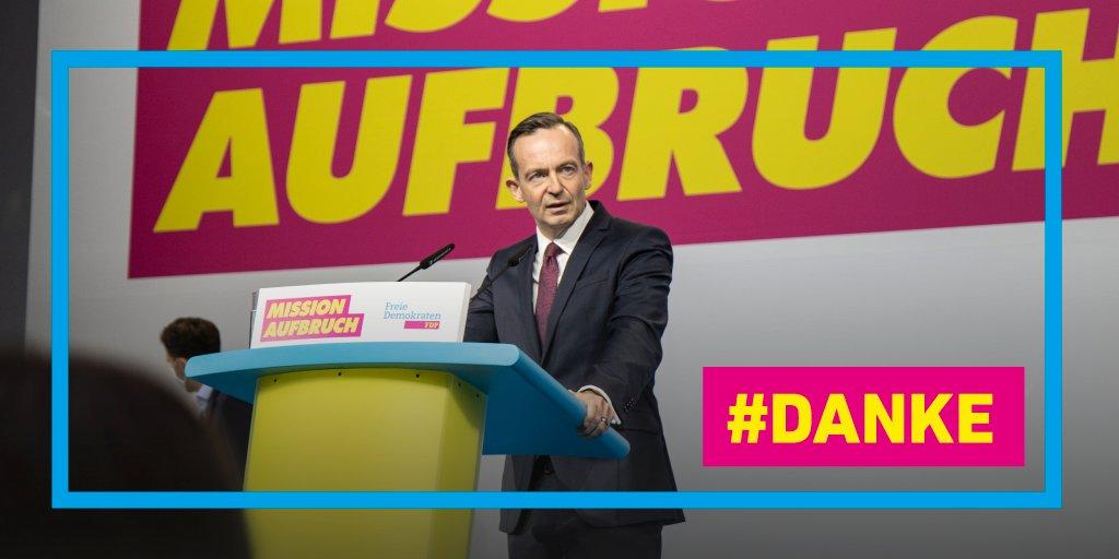 """""""Machen wir die Idee der Freiheit gemeinsam wieder groß!"""" Volker @Wissing wurde mit 82,76 Prozent zum neuen Generalsekretär gewählt. Herzlichen Glückwunsch!"""