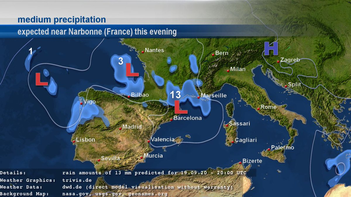 #weatherupdate: Near #Narbonne (#France) the DWD ICON forecast data predicts medium precipitation with 12.6 mm for 19.09.2020 - 20:00 UTC. #wetter #weather https://t.co/VcWApIyc74 https://t.co/GJZtg6UTor