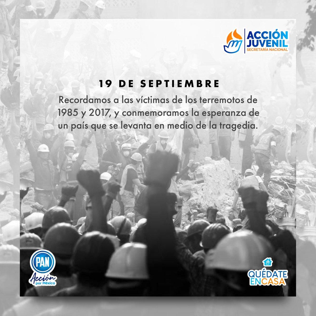Hoy recordamos 2 trágicos sucesos en la historia de nuestro país, pero estos momentos han demostrado lo unidos que podemos ser los mexicanos para salir adelante.  #Sismo19S https://t.co/LojsoaqEIC