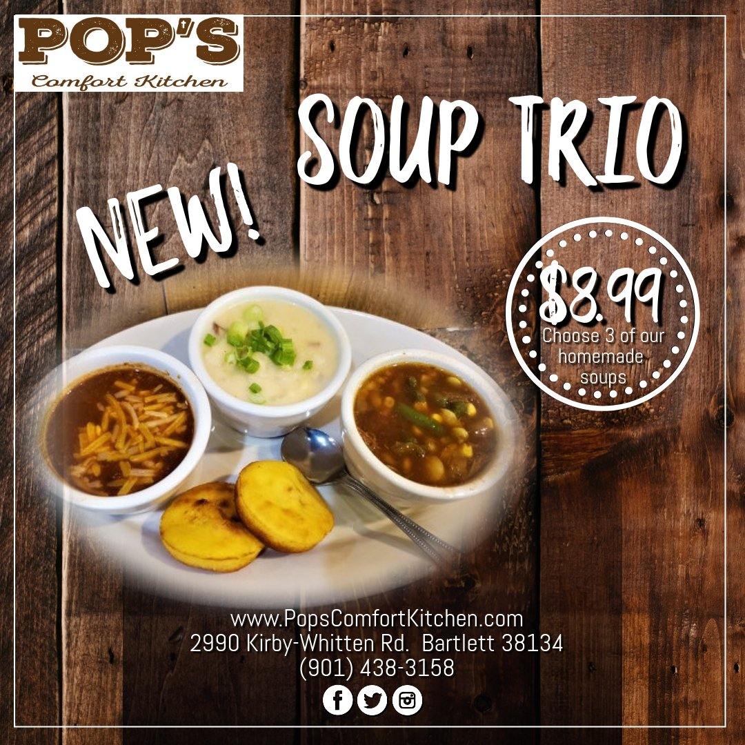 Fall's just around the corner...try our NEW Soup Trio!  #soup #homemadesoup #fall #warmup #comfortfood #ediblememphis #ilovememphisblog #ilovememphisfood #memphisfoodie #eatlocal901 #soupsampler #chili #loadedpotato #vegetablebeef #frenchonion #broccolicheese #chickenchili https://t.co/7gn8qFlw4w