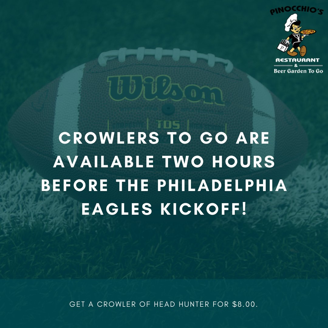 🦅 E-A-G-L-E-S, Eagles! 🦅  Cheer your Eagles on while enjoying a crowler to go, available two hours before the Philadelphia Eagles kickoff!   Get a crowler of Head Hunter for $8.00.  #PinPizza #Crowlers #Pinocchios #MediaPA #FlyEaglesFly #PhiladelphiaEagles #GameDaySpecials https://t.co/CGI9xVnXs1