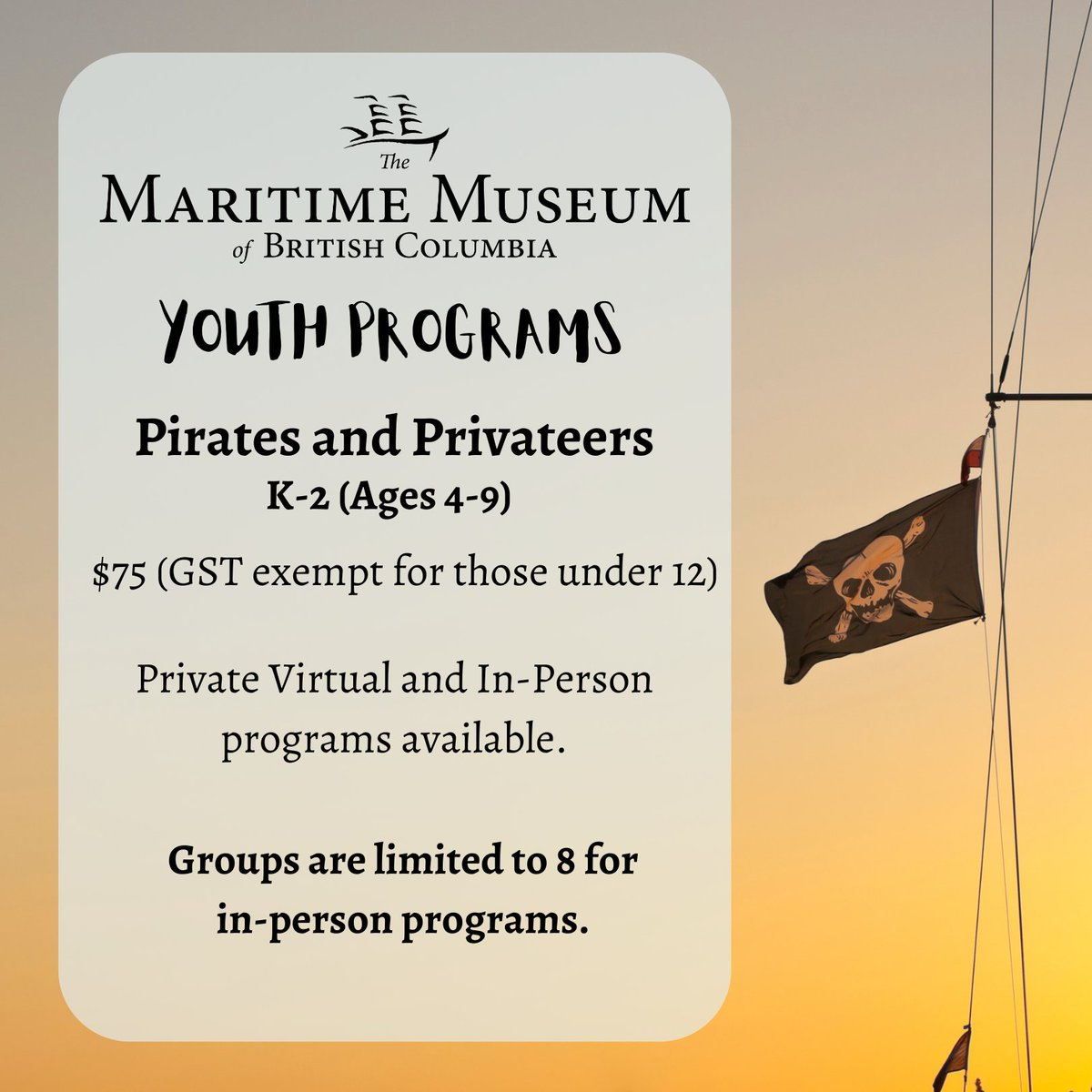 """Arrrr! It's #TalkLikeAPirateDay!  Did you know that we run virtual Youth Programs on """"Pirates and Privateers"""" for grades K-2 (ages 4-9)? Groups of up to 8 can now visit the museum--perfect for homeschooling pods. #MuseumAtHome #HomeLearners To book: https://t.co/60TMojOCeI https://t.co/uij6A1V1l4"""