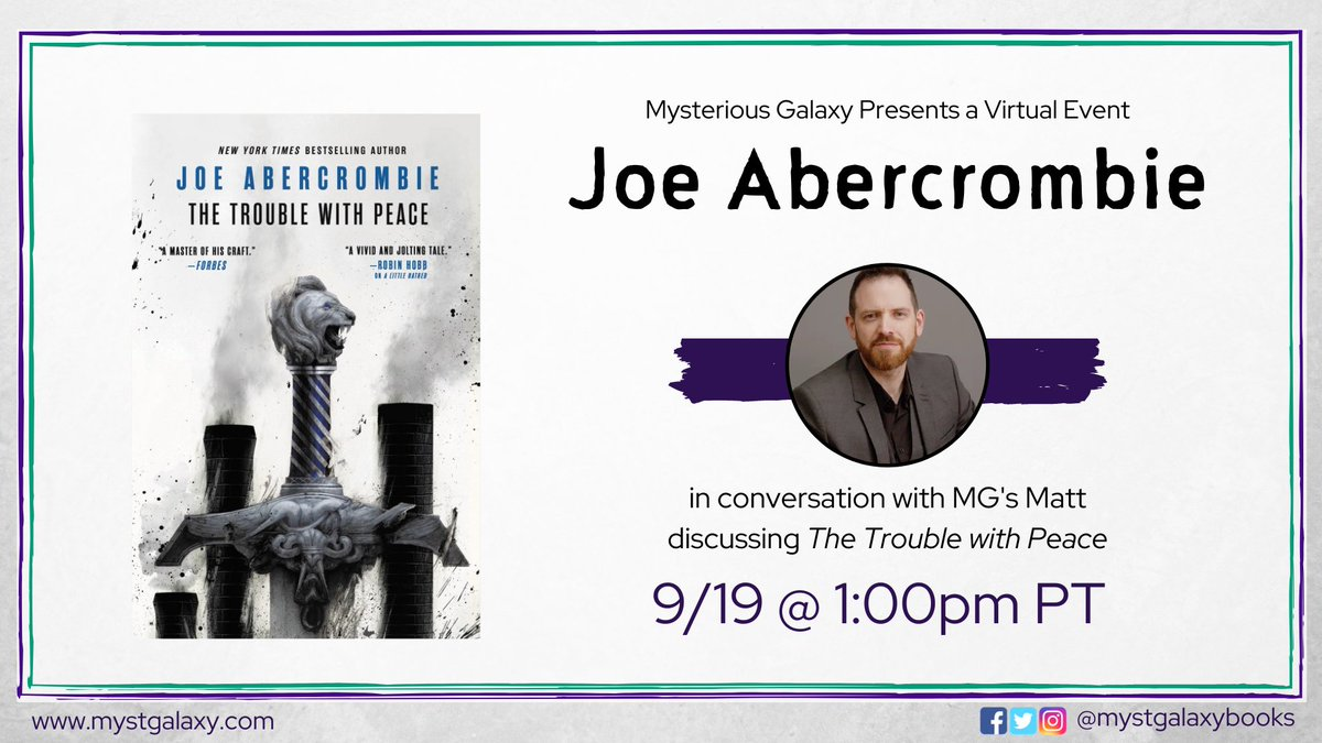 Today at 1pm PT, join MG Co-owner Matt as he chats with @LordGrimdark about THE TROUBLE WITH PEACE! Signed & personalized bookplates are available if you place your order before 9/26 Event info -> buff.ly/338Ldto