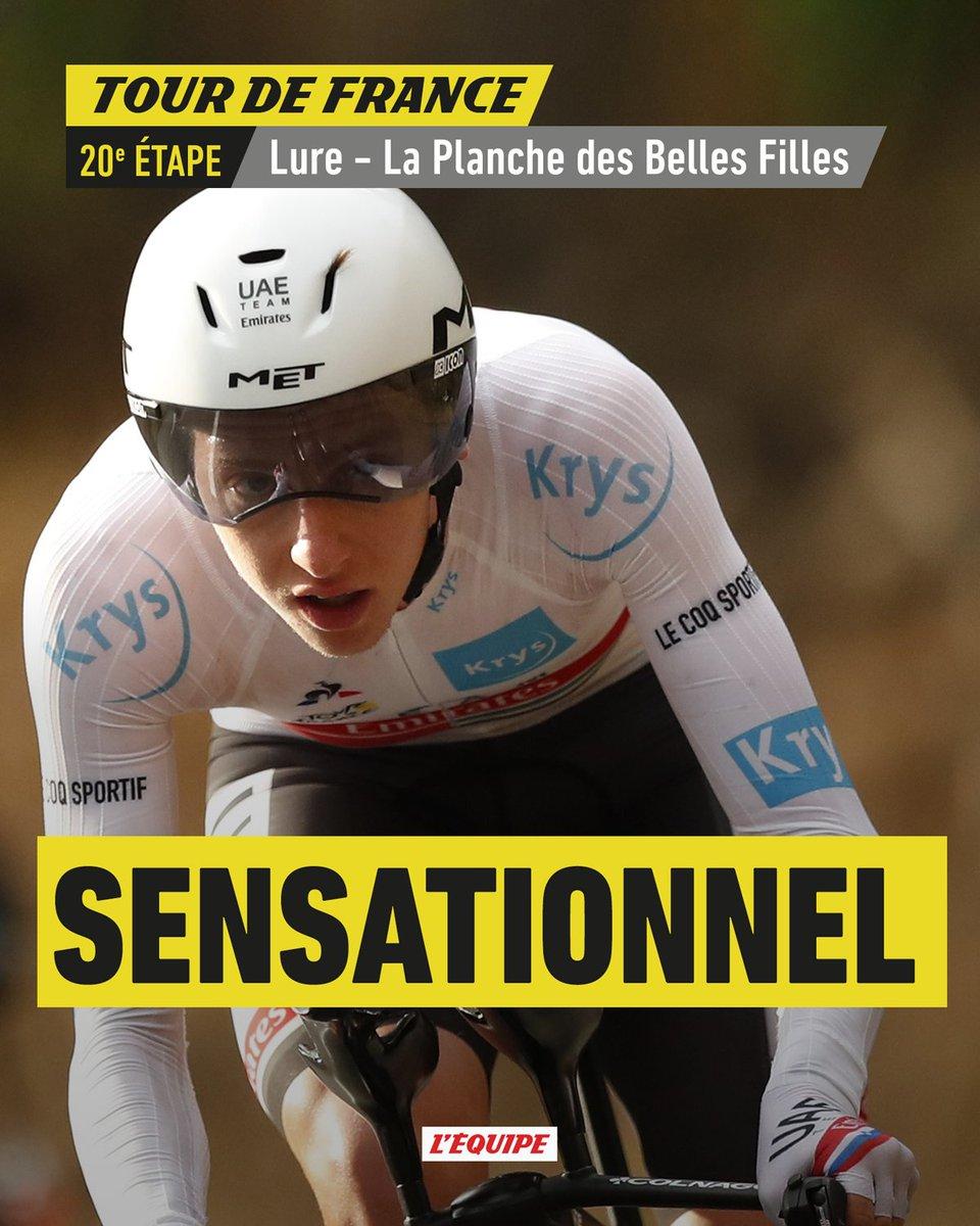 Tadej Pogacar remporte le contre-la-montre et s'empare du Maillot Jaune, il devrait remporter son premier Tour de France.   L'étape : https://t.co/ewxd8QPnNY Le classement général : https://t.co/igM88stvUS   #TDF2020 https://t.co/WPP2mJSddb