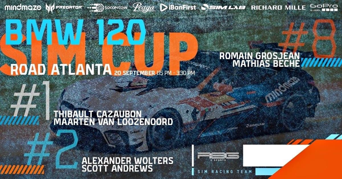 🏁 BMW Sim Cup 120 is back with Road Atlanta tomorrow !!   I will be in the R8G Esports #1 with the beast Maarten van Loozenoord 💪🔴 !!   @r8gesports | @RGrosjean https://t.co/c3A7DT6A8j